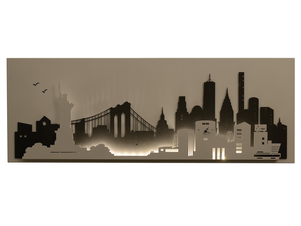 Pannello decorativo luminoso arti e mestieri con orologio new york