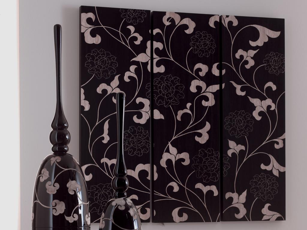 Pannello decorativo in legno inciso a mano l 39 oca nera set - Pannello decorativo ...