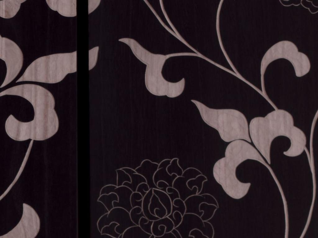 Pannello decorativo in legno inciso a mano L'Oca Nera set 3 pezzi