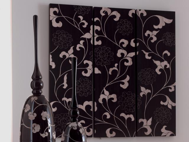 Pannello decorativo in legno inciso a mano l 39 oca nera set - Pannello decorativo design ...